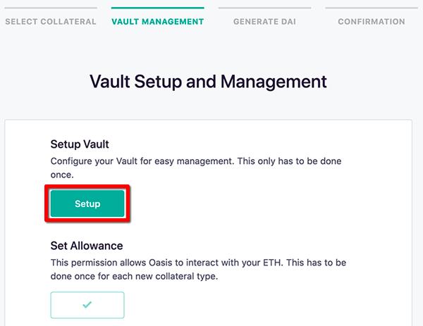 Vaultの作成 - ステーブルコインDAIの発行方法