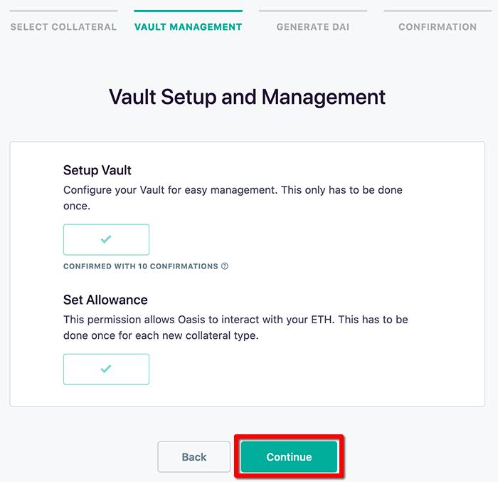 Vault作成を開始 - ステーブルコインDAIの発行方法