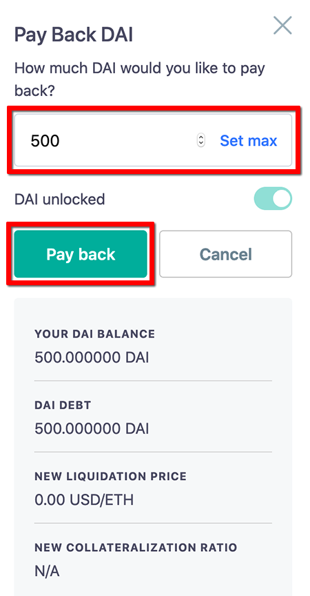 DAIの返却 - ステーブルコインDAIの発行方法